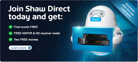 Shaw Direct April 2014 offer banner - 2 free receiver rentals for 2 years!